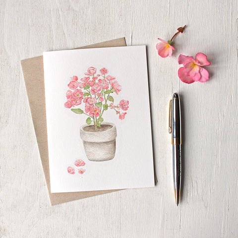 Pink begonia in a pot - Set of note cards based on a watercolor painting by Kathleen Maunder