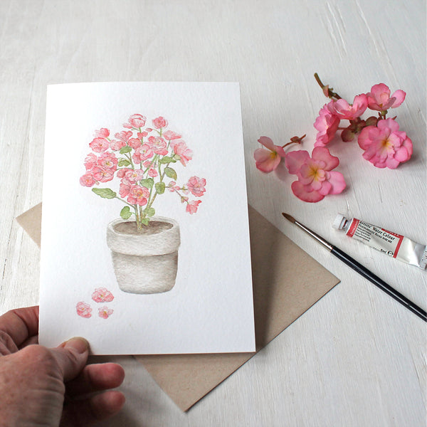 Set of five note cards featuring a watercolor painting of pink begonias by Kathleen Maunder