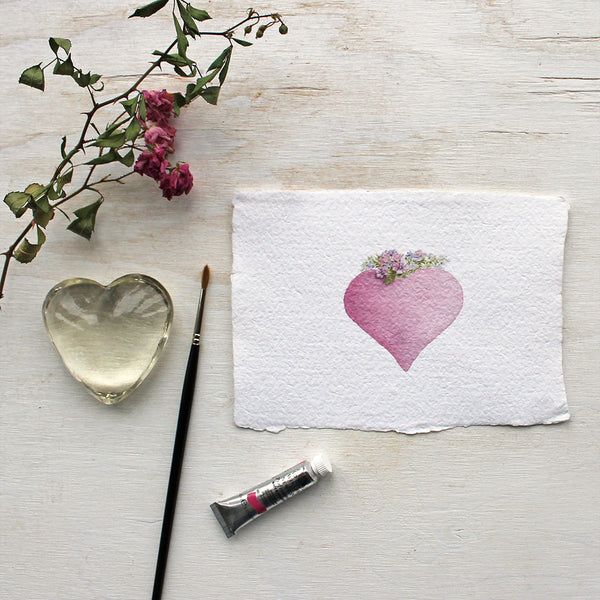 Pink heart watercolour print on handmade paper by Kathleen Maunder