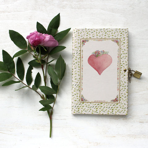Pink Heart diary with lock and key. Featuring watercolor art by Kathleen Maunder.