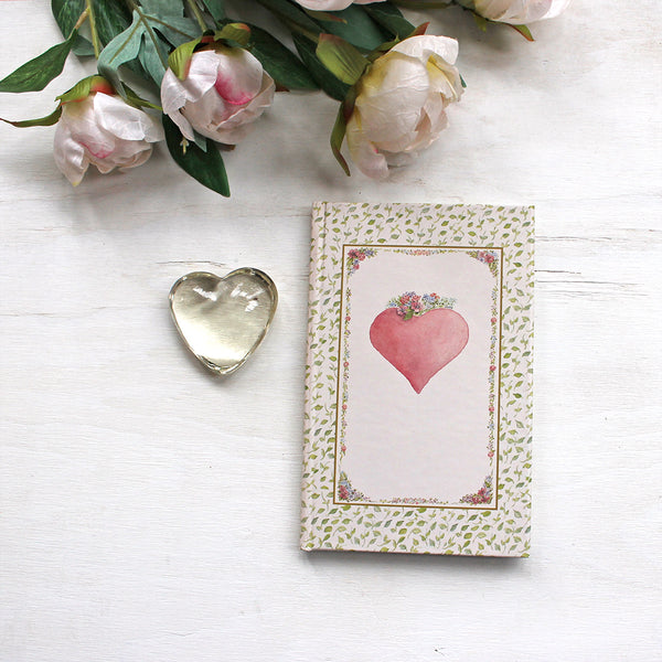 Pink Heart hardcover journal. Featuring cover watercolor art by Kathleen Maunder.
