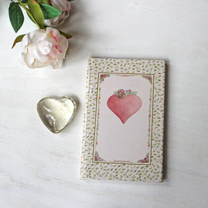 Pink Heart hardcover journal. Featuring watercolor art by Kathleen Maunder.