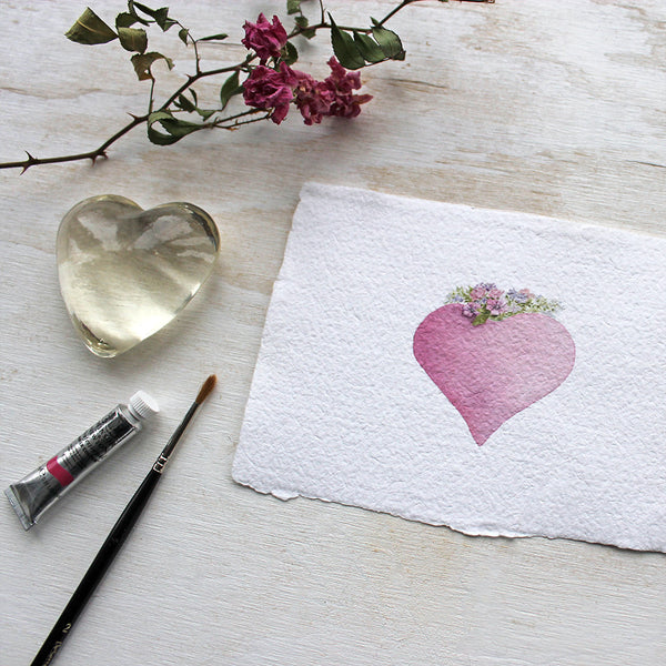Pink heart watercolor print on handmade paper by Kathleen Maunder