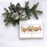 Poinsettias Holiday Card set by watercolor artist Kathleen Maunder, trowelandpaintbrush
