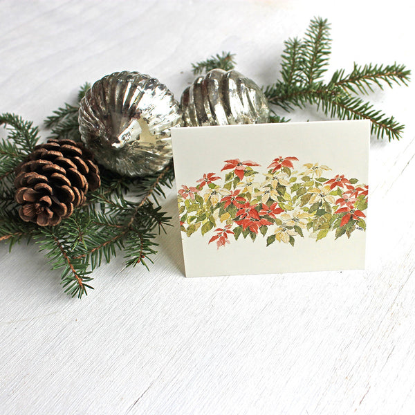Poinsettias Holiday Gift Tag by watercolor artist Kathleen Maunder, trowelandpaintbrush
