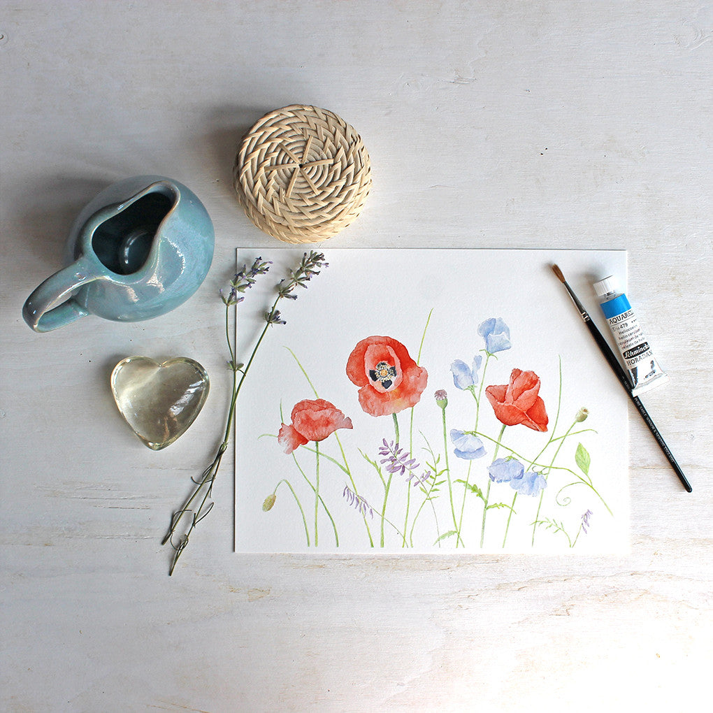 Poppy and Sweet Pea Print by watercolor artist Kathleen Maunder