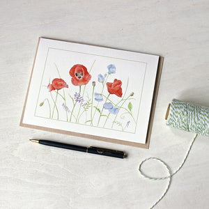 Poppy and Sweet Pea Note Cards featuring a watercolor by Kathleen Maunder