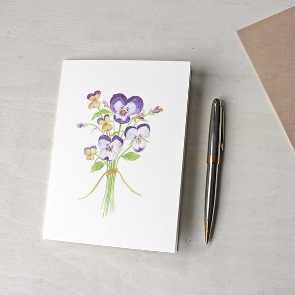 Note card featuring a watercolor painting of pansies and violas by Kathleen Maunder