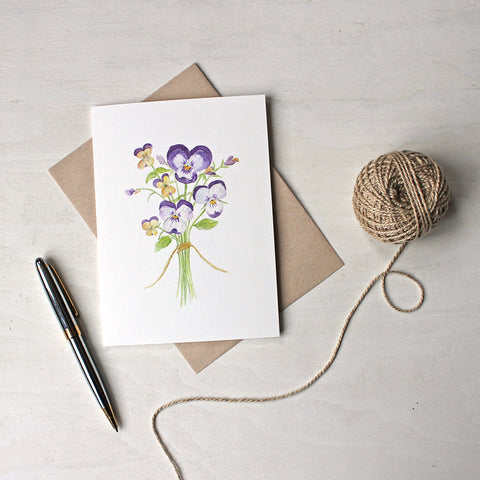 Note cards featuring a watercolor painting of a posy of pansies and violas by Kathleen Maunder