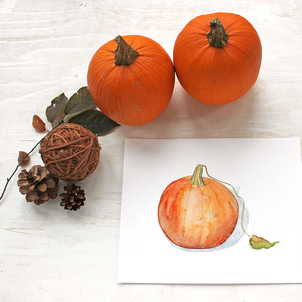 Watercolor painting of pumpkin by artist Kathleen Maunder / high quality art print