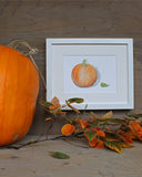 Pumpkin watercolor art print by Kathleen Maunder of Trowel and Paintbrush