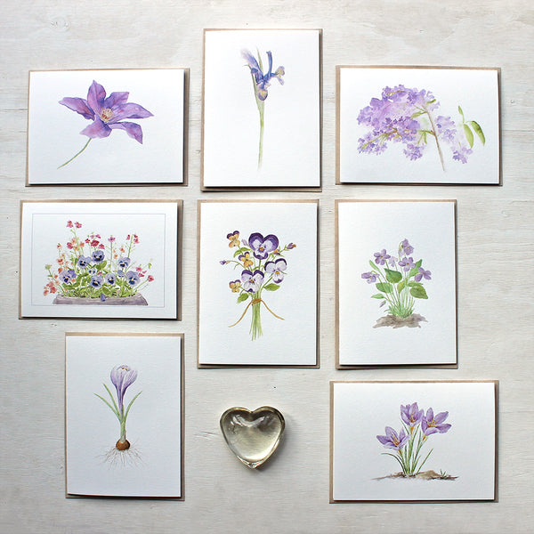 Eight note cards featuring purple botanical watercolour images by Kathleen Maunder