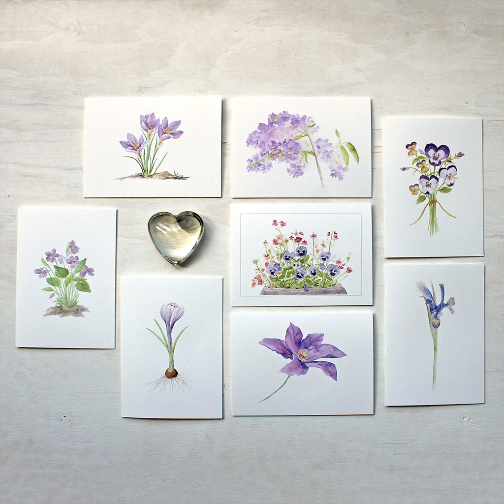 Eight note cards featuring purple floral watercolor images by Kathleen Maunder