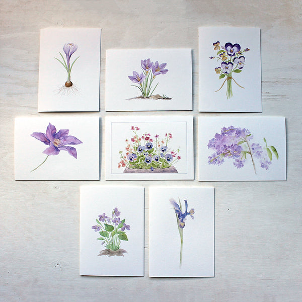 Watercolor note cards featuring purple flowers in watercolor. Artist Kathleen Maunder.