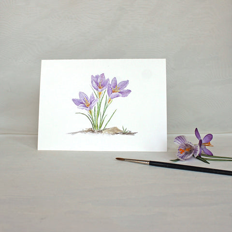 Note card with three purple crocuses by watercolor artist Kathleen Maunder
