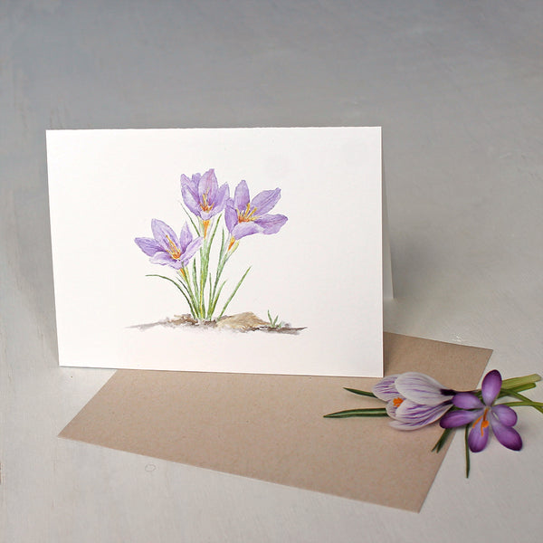 Note card with botanical watercolor of three purple crocuses