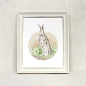 Framed bunny watercolor print by artist Kathleen Maunder