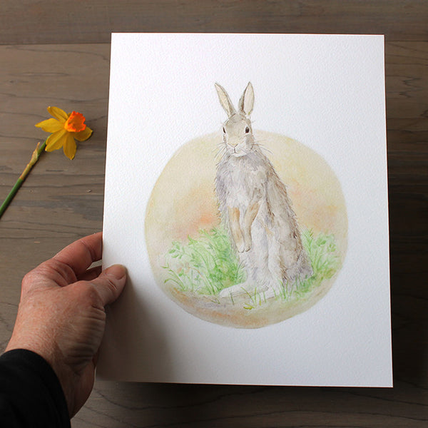 Art print featuring rabbit watercolour by Kathleen Maunder, trowelandpaintbrush