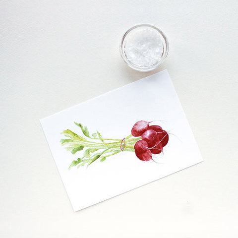Radish Bunch Watercolor Print