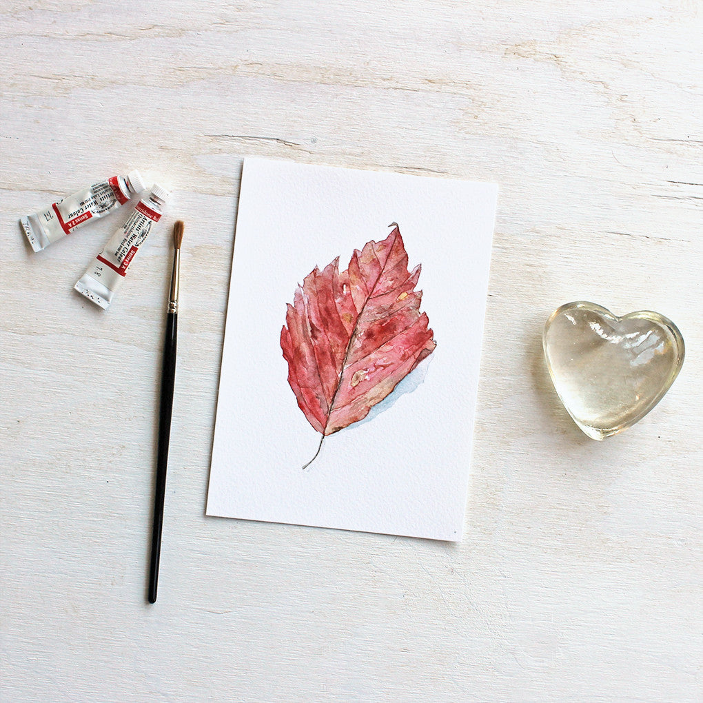 Red Autumn Leaf Watercolor Print