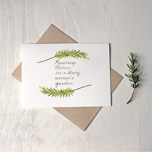 Rosemary Quote Note Card featuring watercolor by Kathleen Maunder