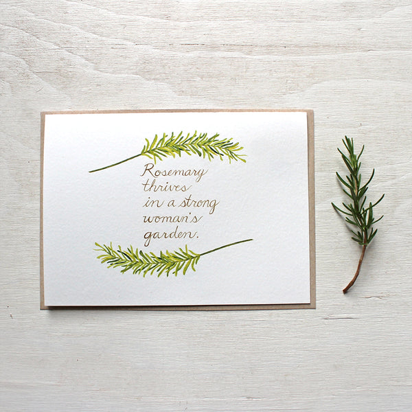 Rosemary herb watercolor note card featuring strong woman quote