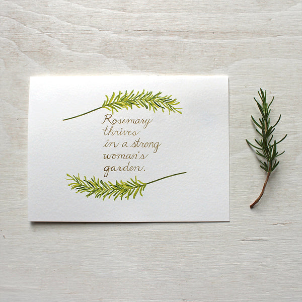 Rosemary herb watercolor with quote on note card