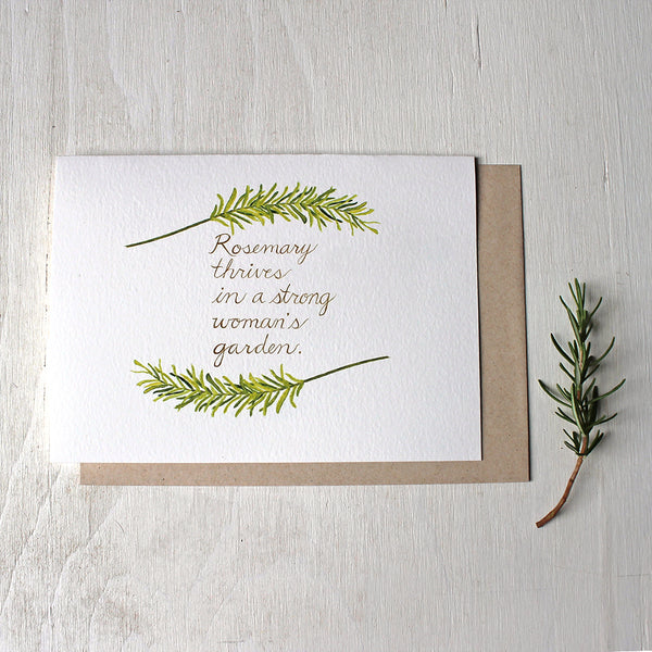 Rosemary Quote Watercolor Note Card - Painting by Kathleen Maunder