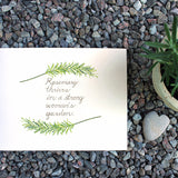 Rosemary sprigs in watercolor with hand-lettered quote by Kathleen Maunder (trowelandpaintbrush)