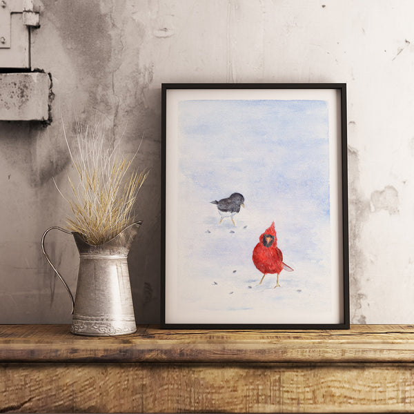 Example of framed Cardinal and Junco print by Kathleen Maunder
