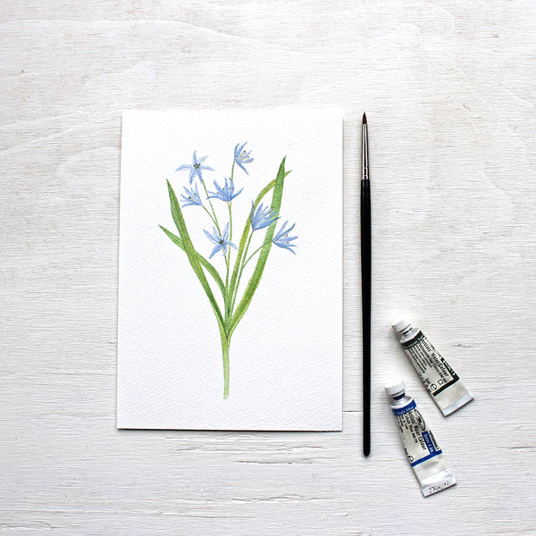 Blue Botanical Watercolor Prints - Set of 3