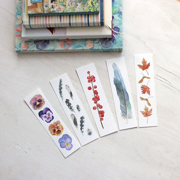 Watercolor bookmarks - Set of five - Artist Kathleen Maunder