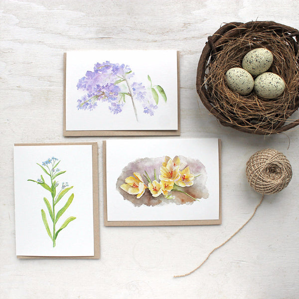 Spring floral watercolor cards by Kathleen Maunder, trowelandpaintbrush