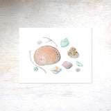 Shells and Sea Glass Watercolor Print by Kathleen Maunder, Trowel and Paintbrush