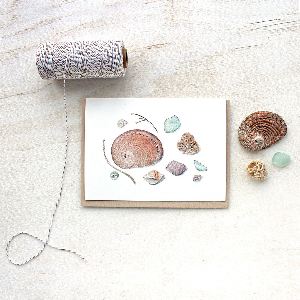 Shells and Sea Glass Note Cards by watercolor artist Kathleen Maunder