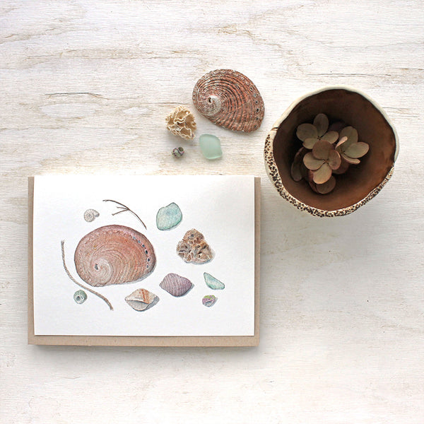 Shells and Sea Glass Note Cards by watercolor artist Kathleen Maunder (trowelandpaintbrush.com)