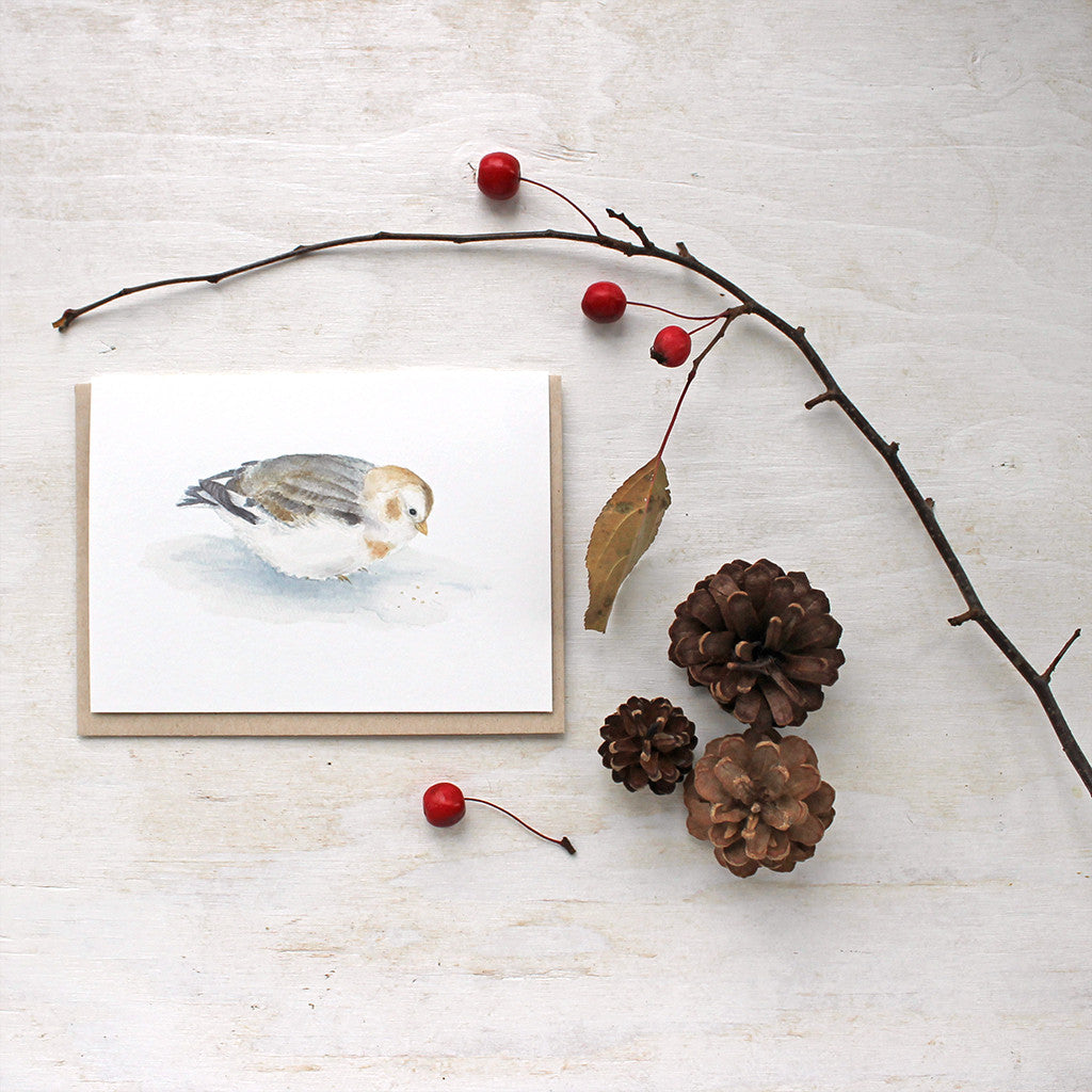 Snow bunting - bird cards by watercolor artist Kathleen Maunder of Trowel and Paintbrush