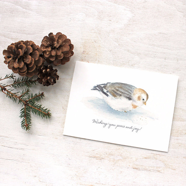 Snow bunting holiday cards by watercolor artist Kathleen Maunder