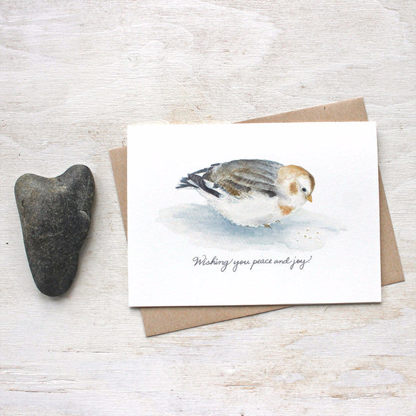 Snow bunting holiday cards by watercolor artist Kathleen Maunder of Trowel and Paintbrush
