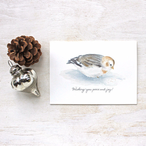 Christmas bird card featuring a snow bunting painting by Kathleen Maunder