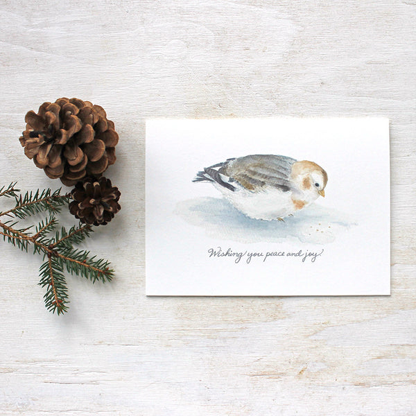 This lovely set of five cards features a watercolor painting I did of a snow bunting and the simple, warm greeting: 'Wishing you peace and joy'. Perfect holiday card for bird lovers.