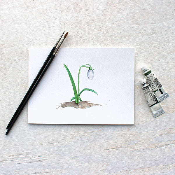 Snowdrop watercolor print by Kathleen Maunder (Trowel and Paintbrush)