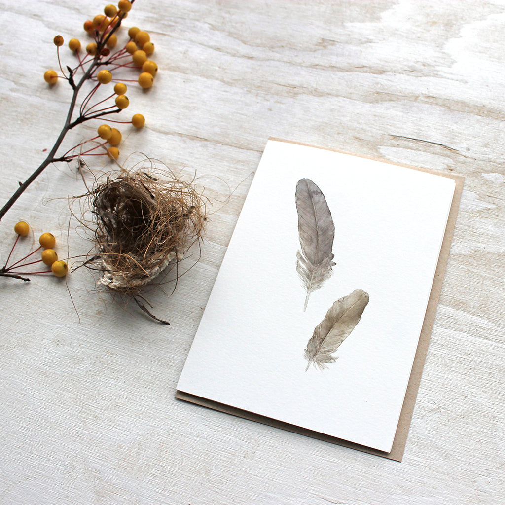 Sparrow feathers note card set by watercolor artist Kathleen Maunder
