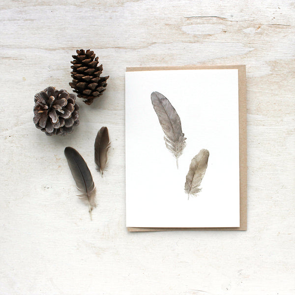 Sparrow feather note cards by watercolor artist Kathleen Maunder of Trowel and Paintbrush