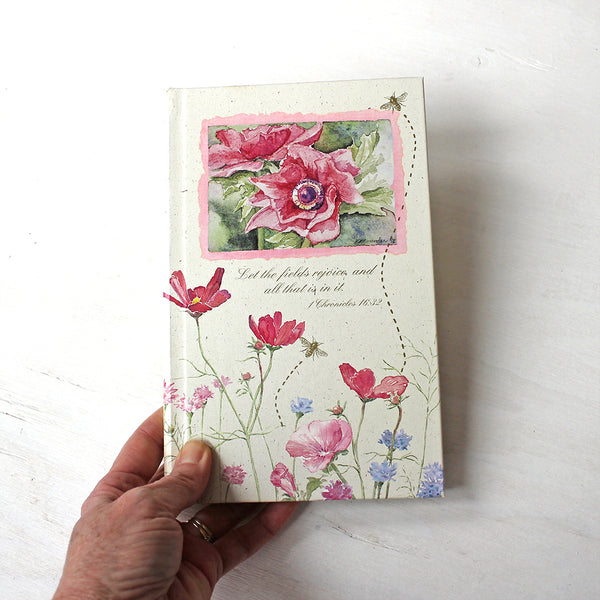 Vintage hardcover journal with Bible quotes. The floral watercolor paintings on the cover are by Kathleen Maunder.