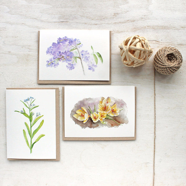 Spring floral watercolour note cards by Kathleen Maunder of Trowel and Paintbrush
