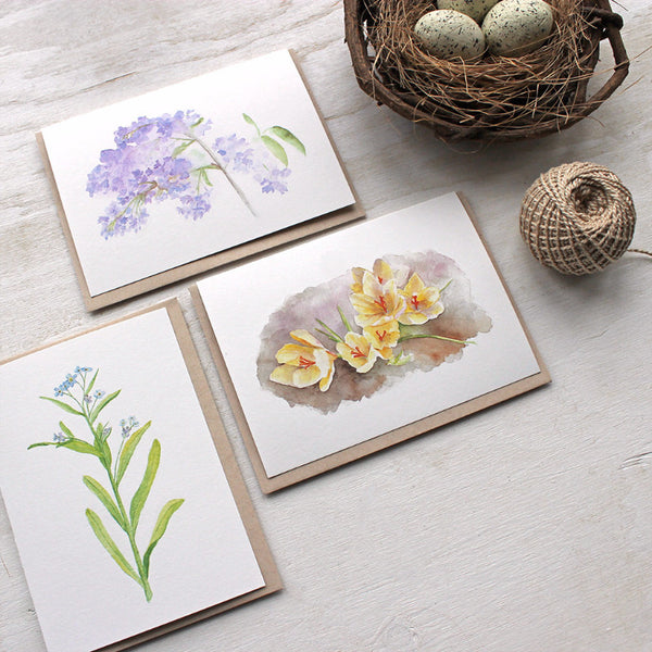 Spring floral watercolor cards by Kathleen Maunder of Trowel and Paintbrush