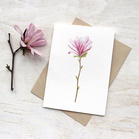 Lovely blank note cards featuring a star magnolia flower by watercolor artist Kathleen Maunder