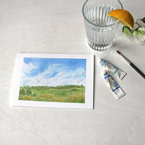 'Summer Day' note cards featuring a watercolor painting of a rural landscape by Kathleen Maunder