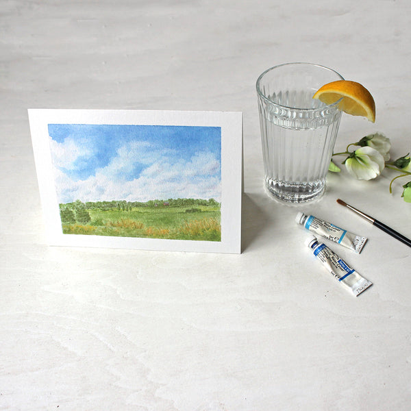 Summer day in the countryside - Set of note cards featuring a watercolour painting by Kathleen Maunder